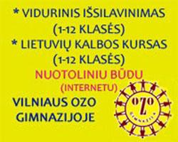 Vidurinis išsilavinimas, lietuvių kalbos kursai nuotoliniu būdu Vilniaus ozo gimnazijoje