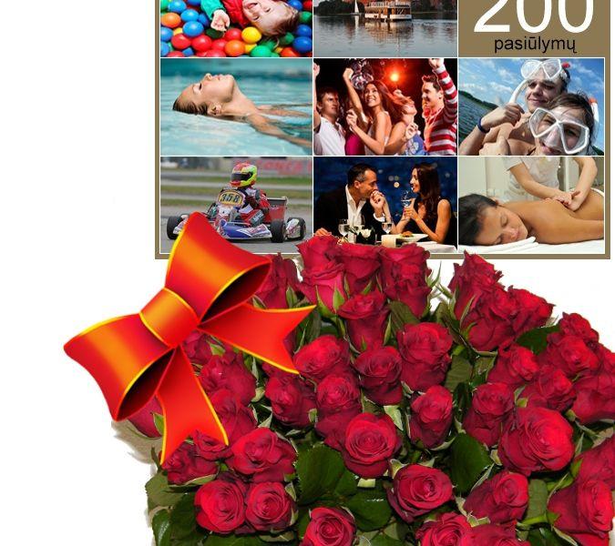 Dovanos prie gėlių, dovanų pristatymas į namus internetu